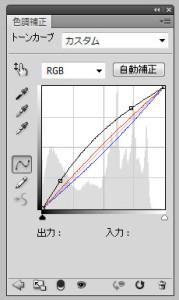 代替こんなカーブになるように調整。ハイライトをもっとつけたい時はRGB(黒いライン)がS字になるようにする感じで。